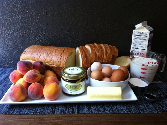 ingredients for Brioche Bread & Butter Pudding with Fresh Peaches & Plum Jam
