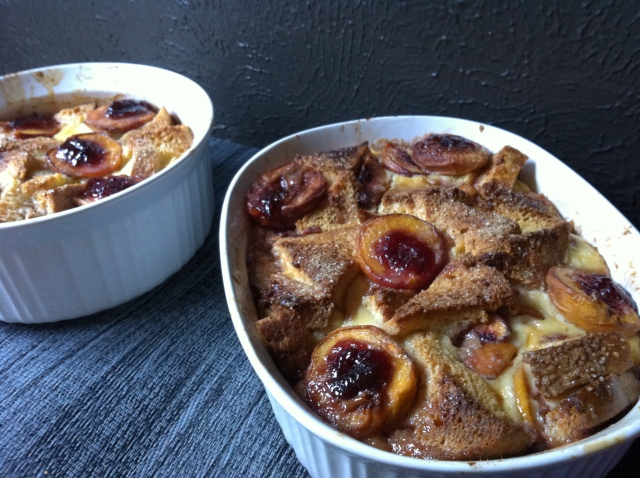 Brioche Bread and Butter Pudding with Fresh Peaches & Plum Jam dishes