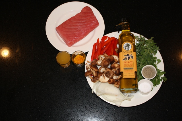 Ingredients for Grilled Tuna with Vegetables and Oregano Sauce