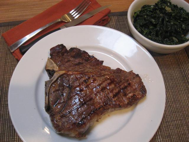 Grilled Porterhouse with Rosemary Oil and Sauteed Spinach