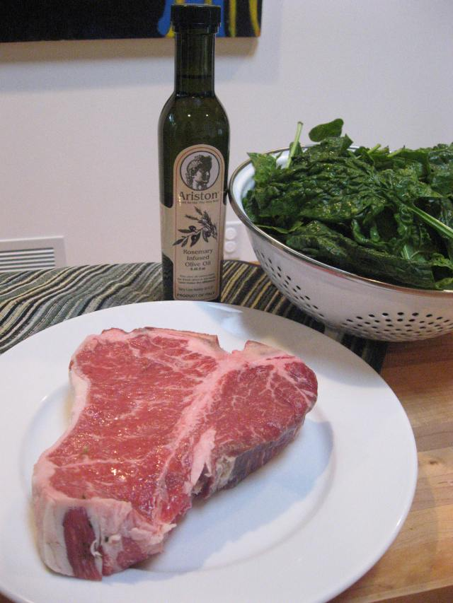 Ingredients for Grilled Porterhouse with Rosemary Oil and Sauteed Spinach